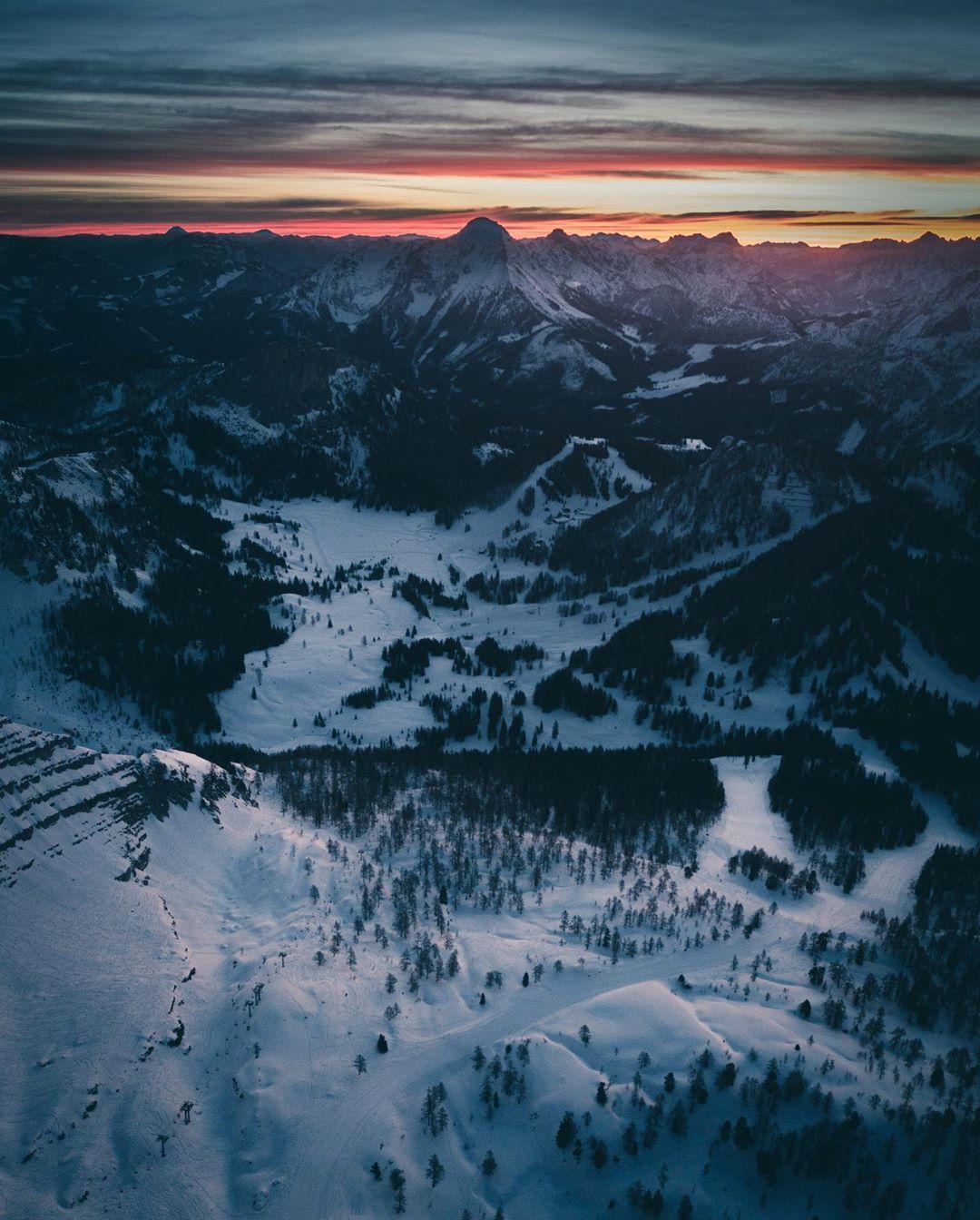 Winter panorama at sunset
