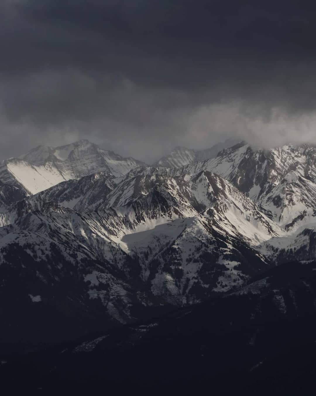 Alpine panorama Hohe Tauern in stormy weather