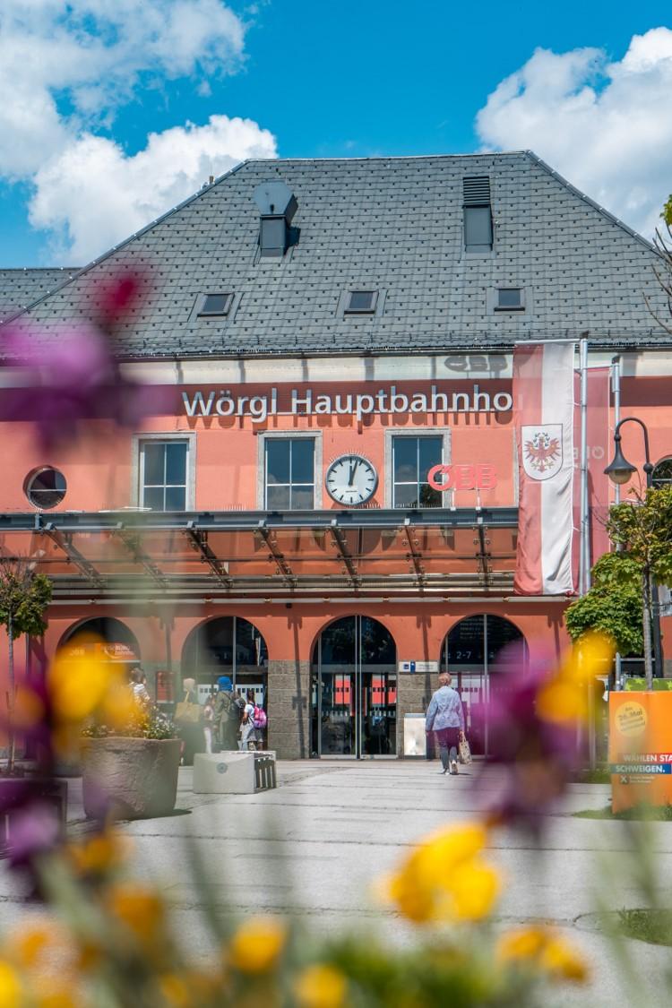 Blick auf den Hauptbahnhof von Wörgl