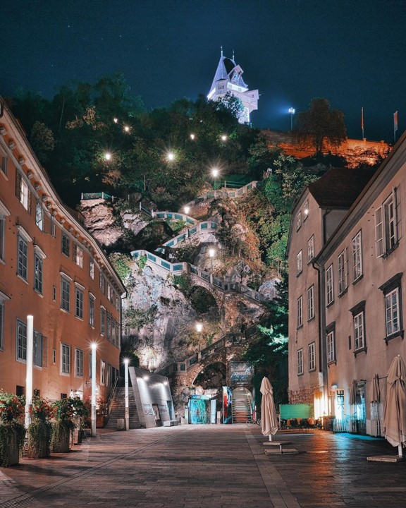 View of the Graz Schlossberg at night
