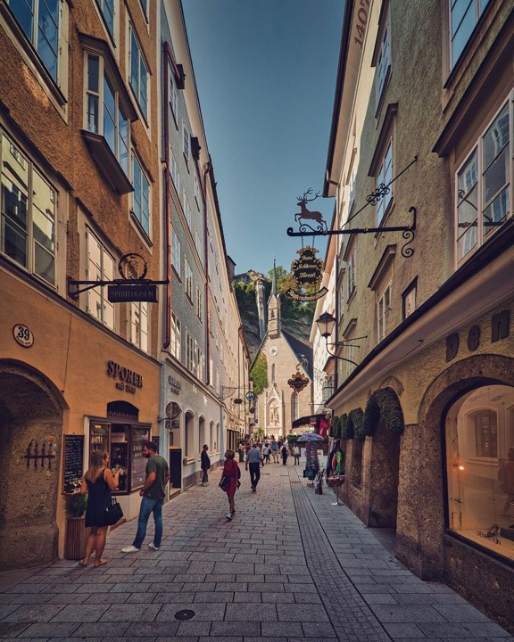 The most famous historical alley of Salzburg