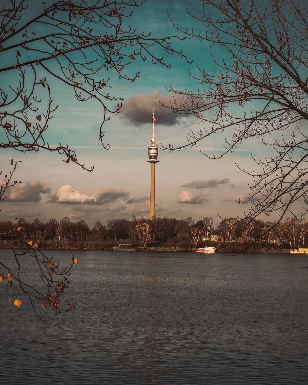 Blick auf den Donauturm von der Donauinsel