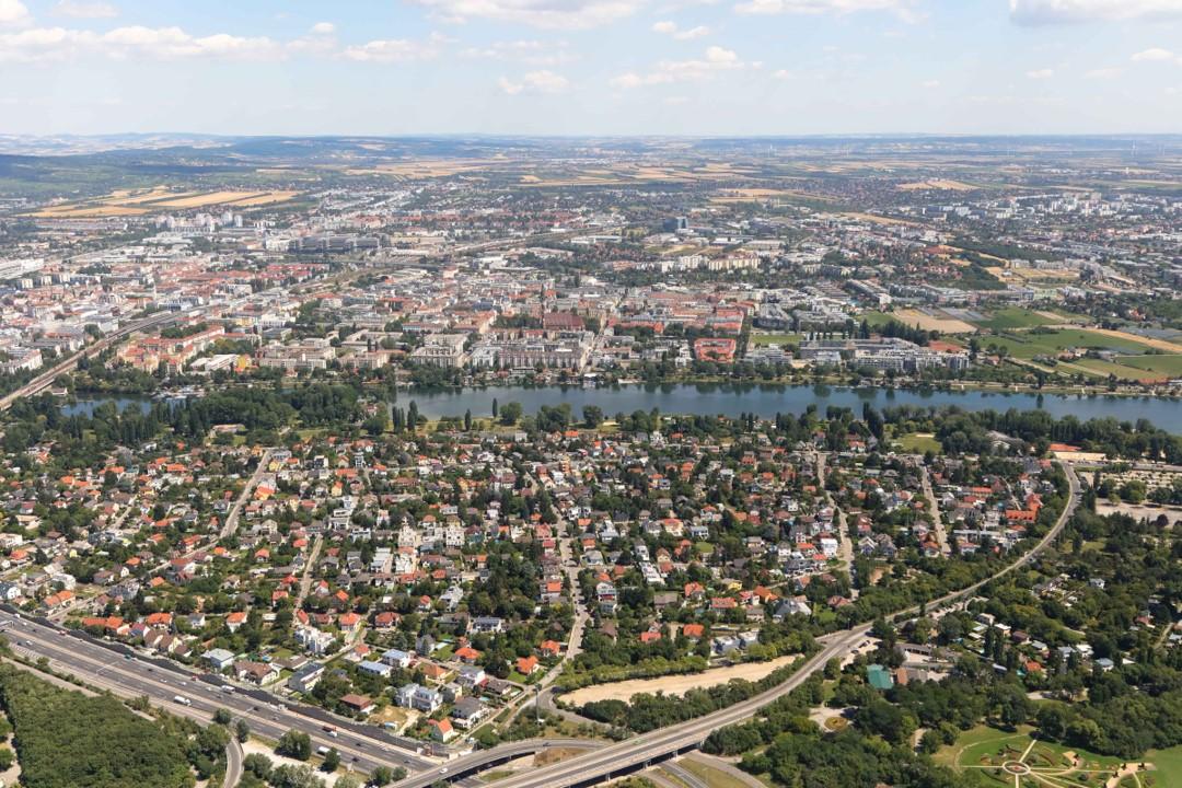 Blick auf die Alte Donau in der Donaustadt