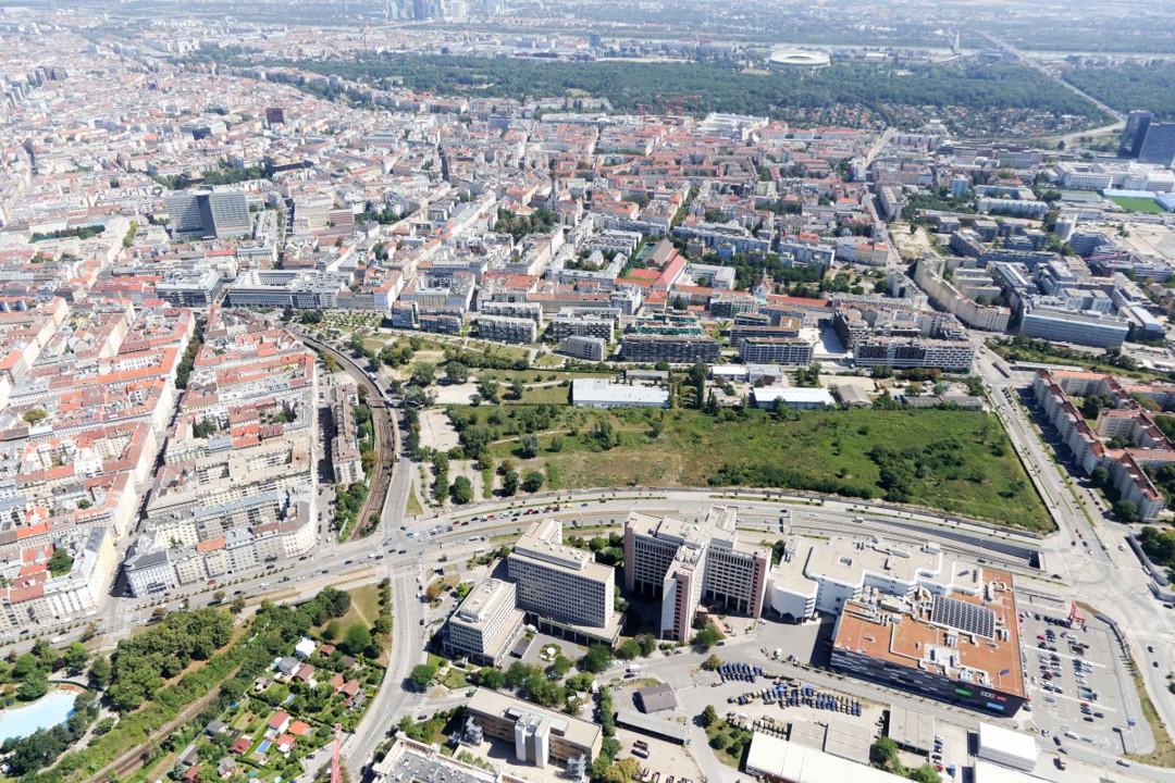 Luftbildaufnahme der Aspangstraße im Bezirk Landstraße