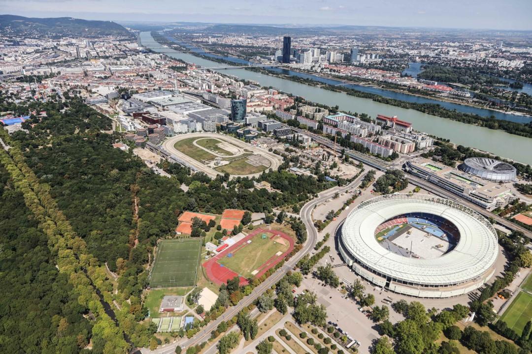 Blick auf das Ernst-Happel-Stadion im Wiener Prater