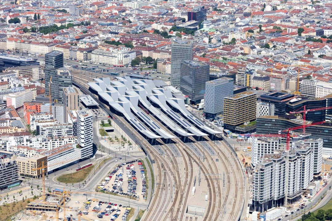 Аэрофотоснимок центрального железнодорожного вокзала Вены