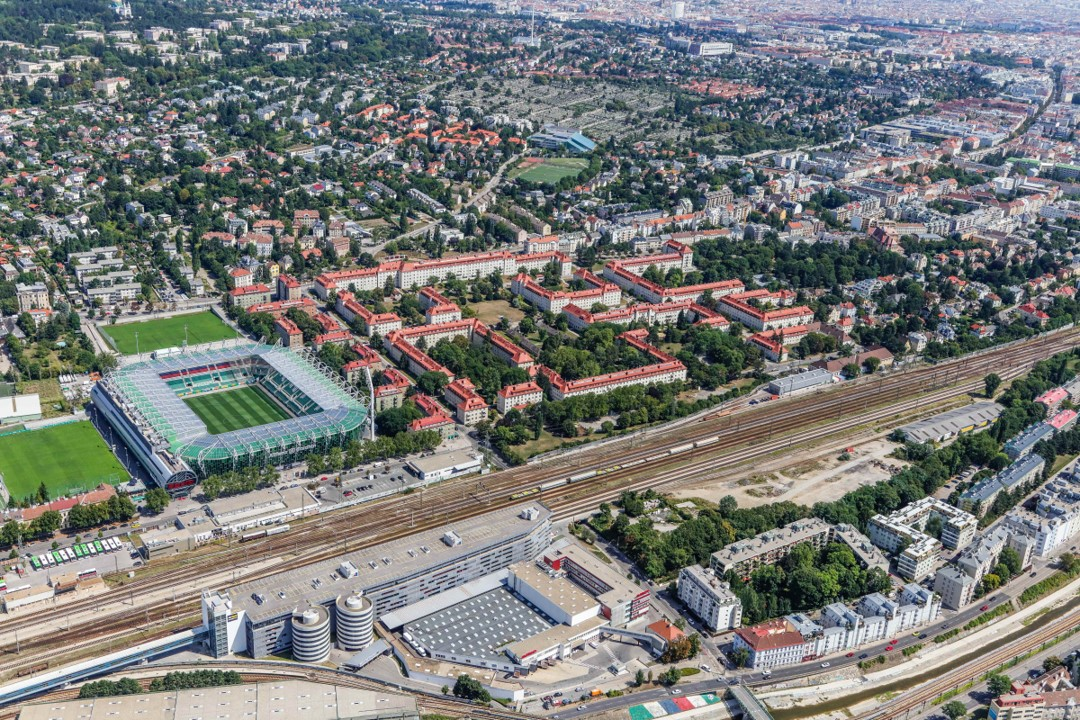 Aerial view of Hütteldorf with the stadium of SK Rapid Vienna
