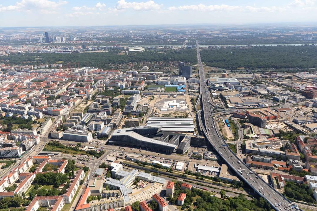 Luftbildaufnahme der Gegend rund um die Simmeringer Hauptstraße