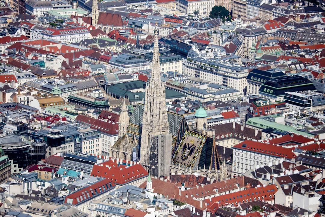 Вид на собор Святого Стефана, достопримечательность Вены