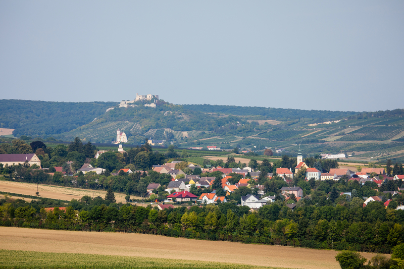 The Lower Austrian municipality of Mistelbach with the Falkenstein ruin in the background